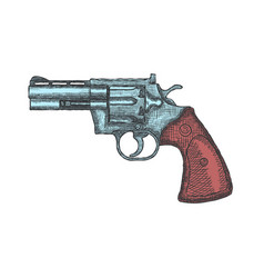Hand drawn vintage revolver gun firearm pistol vector