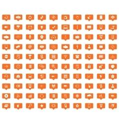 Hi-Tech orange message icons set vector image vector image