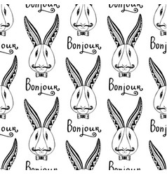 Hipster rabbits seamless pattern french greeting vector