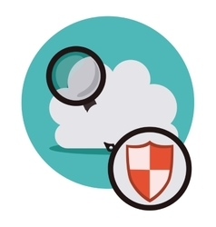 Isolated lupe tool and cloud design vector
