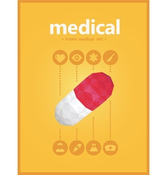 Midical icons set with pill polygon style vector