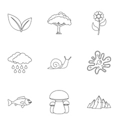 Nature icons set outline style vector