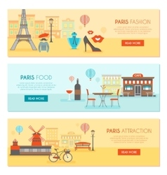 Paris Horizontal Banners Set vector image vector image