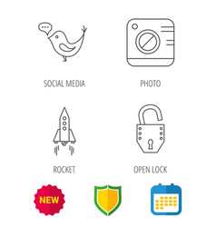 Photo social media and rocket icons vector