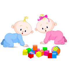 playing babies vector image