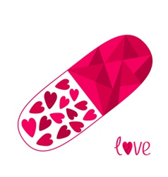 Polygonal medical pill with hearts inside love car vector