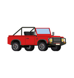 Red realistic powerful suv car vector
