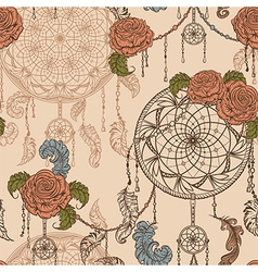 seamless pattern with dream catcher roses vector image