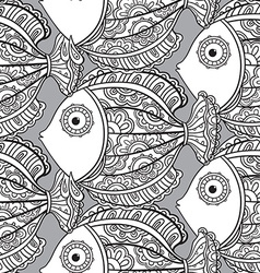 Seamless pattern with ornate fishes vector image