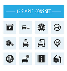 Set of 12 editable vehicle icons includes symbols vector