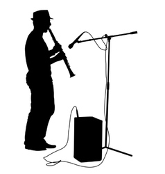 Silhouette musician plays the clarinet vector image