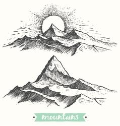 Sketch sunrise mountains engraving drawn vector
