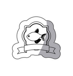 Sticker monochrome line contour with emblem fish vector