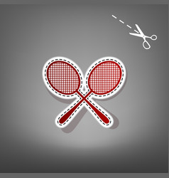 Tennis racquets sign red icon with for vector