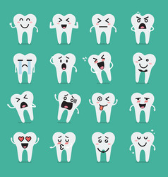tooth character emoji set vector image