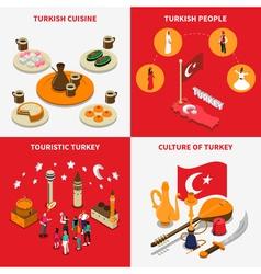 Touristic turkey 4 isometric icons square vector