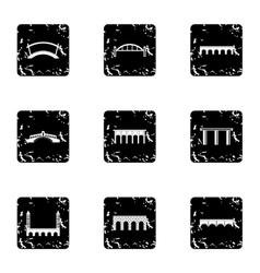 Types of bridges icons set grunge style vector