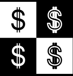 United states dollar sign black and white vector