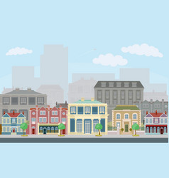 urban street scene with smart townhouses vector image vector image