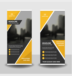 Yellow business roll up banner flat design vector