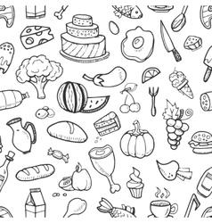 Doodle food ingredients drinks and vegetables vector