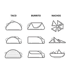 mexican cuisine food taco burrito and nachos vector image