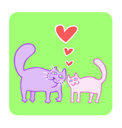 Cartoon enamored cats in purple and pink colors vector