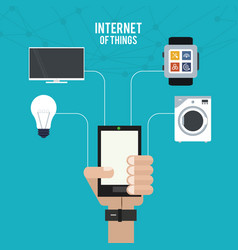 Internet of things hand with smartphone work home vector