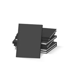 Stack of blank black books on white mockup vector