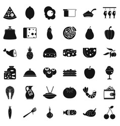 Meal icons set simple style vector