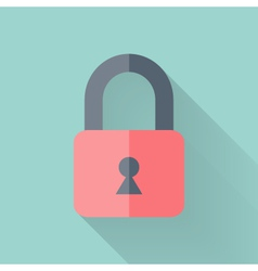 Flat closed padlock icon over mint vector