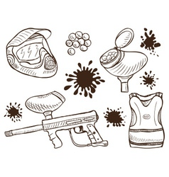 Paintball equipment doodle style vector