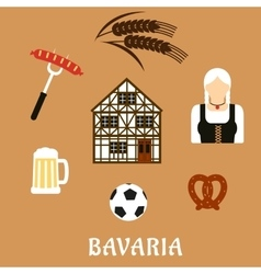 Bavaria travel and objects flat icons vector