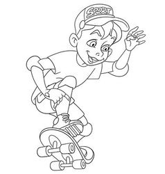 Cute cartoon boy on a skateboard vector