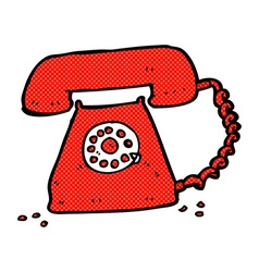 Comic cartoon retro telephone vector