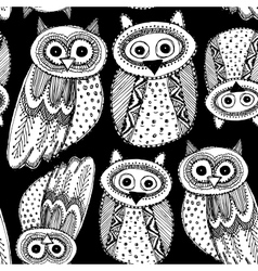 Decorative hand dravn cute owl sketch doodle white vector