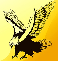 landing eagle silhouette vector image