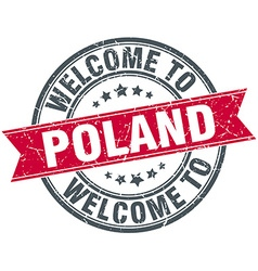 Welcome to poland red round vintage stamp vector
