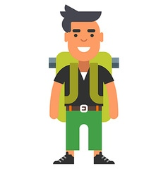 Hipster man with backpack vector