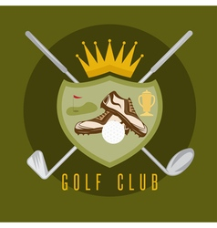 Royal golf club coat of arms design template vector