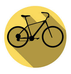 Bicycle bike sign flat black icon with vector