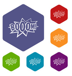 Boom explosion bubble icons set hexagon vector