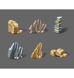 Cartoon stones and minerals vector