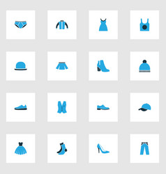 Clothes colorful icons set collection of skirt vector