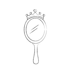 Crown princess magical mirror with hearts vector