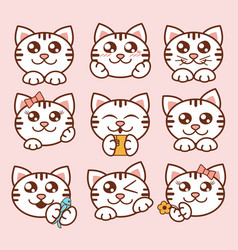 Cute cats icons set sweet vector
