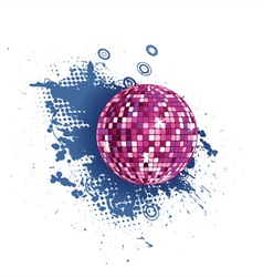 Discoball with grunge vector