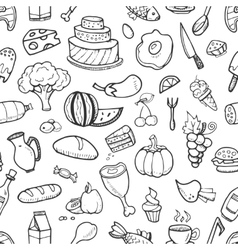 Doodle food ingredients drinks and vegetables vector image vector image