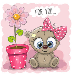 Greeting card bear girl with flower vector