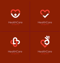 health care logo set with heart shape vector image vector image